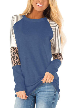 Blue Striped and Leopard Color Top - Party Girl Fashion Exclusives