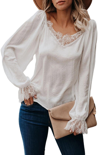 White Satin Lace Blouse - Party Girl Fashion Exclusives