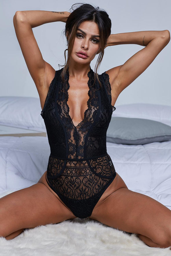 Black V Neck Hollow-out Lace Bodysuit - Party Girl Fashion Exclusives
