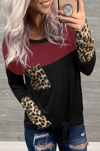 Black Block Leopard Printed Blouse - Party Girl Fashion Exclusives