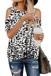 White Leopard Print Cold Shoulder Top - Party Girl Fashion Exclusives