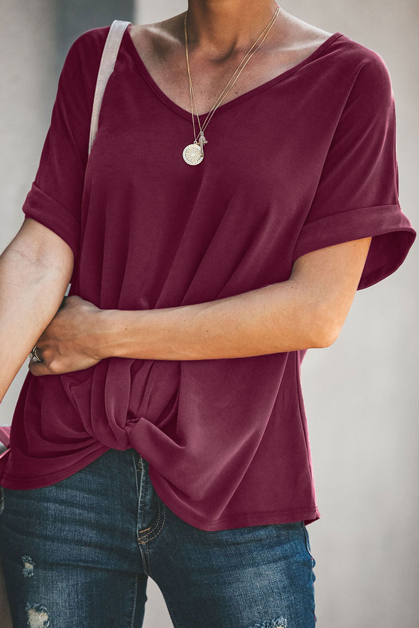 Burgundy Plain Short Sleeve Twist Tee - Party Girl Fashion Exclusives
