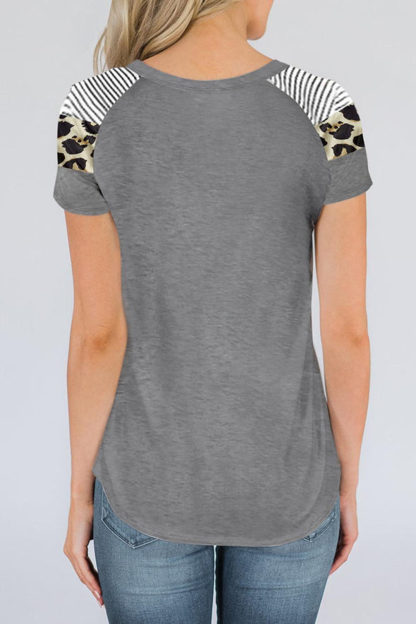 Gray Striped Leopard Print Short Sleeve Tee - Party Girl Fashion Exclusives