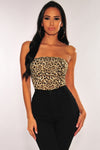 Leopard Print Strapless Bodysuit - Party Girl Fashion Exclusives