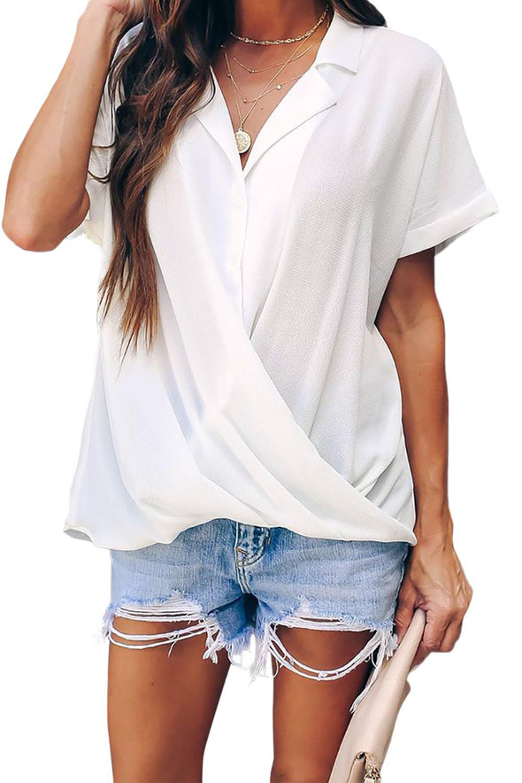 White Road To Success Button Down Drape Blouse - Party Girl Fashion Exclusives