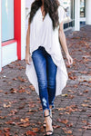 White Stylish Drape High Low Top - Party Girl Fashion Exclusives