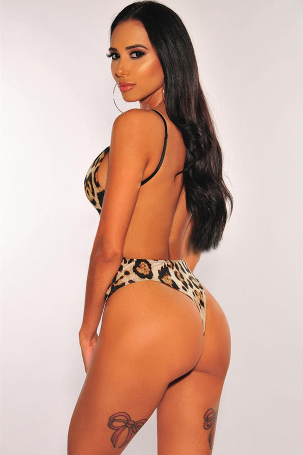 Leopard Print Open Back Bodysuit - Party Girl Fashion Exclusives