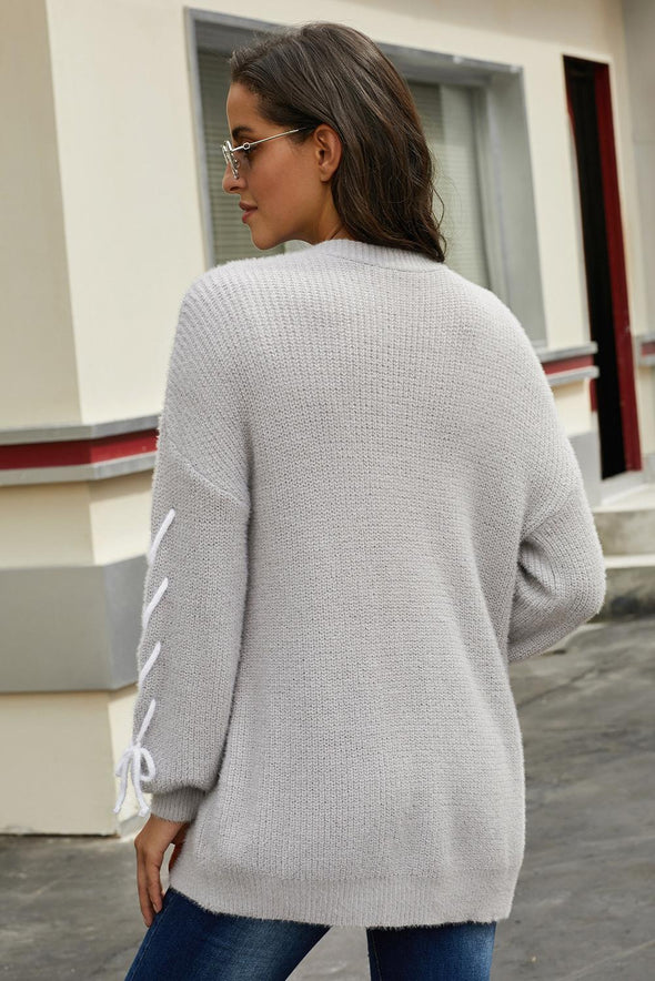 Gray Soft Long Sleeve Cardigan with Stitch Detail - Party Girl Fashion Exclusives