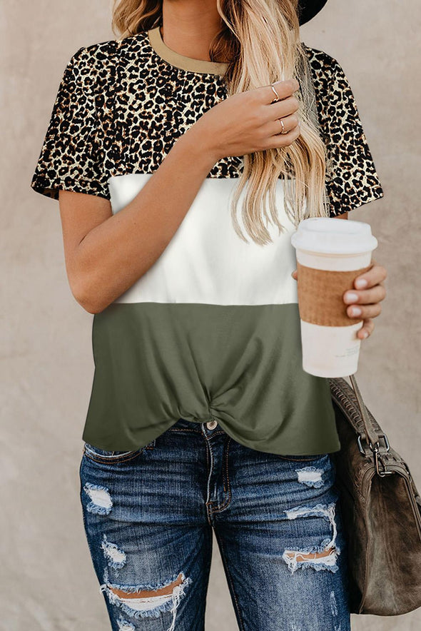 Green Color Block Leopard Tee - Party Girl Fashion Exclusives