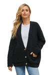 Black Oversize Button Front Cardigan - Party Girl Fashion Exclusives