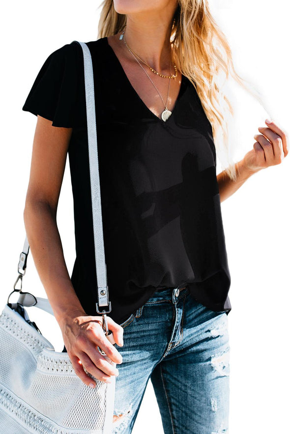 Black V Neck Short Sleeve Tee - Party Girl Fashion Exclusives