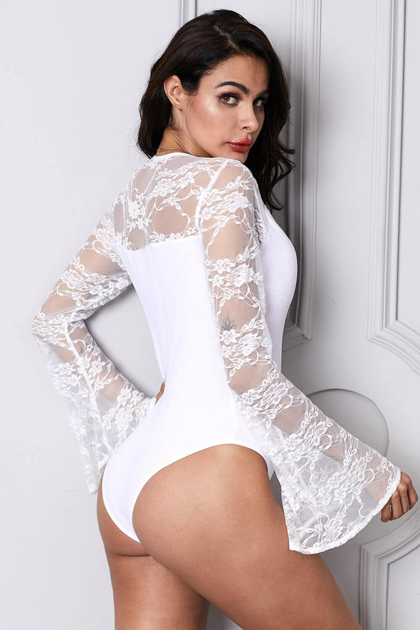 White Flare Lace Sleeve Ribbed Bodysuit - Party Girl Fashion Exclusives