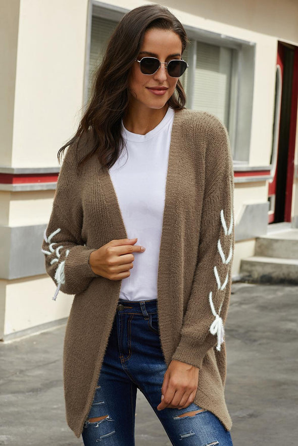 Brown Soft Long Sleeve Cardigan with Stitch Detail - Party Girl Fashion Exclusives