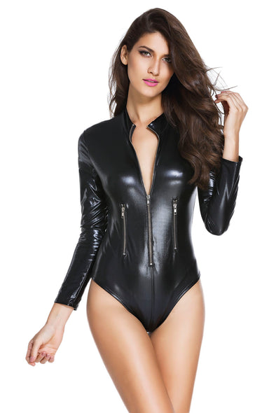 Black Leathery Long Sleeve Zip Detail Bodysuit - Party Girl Fashion Exclusives