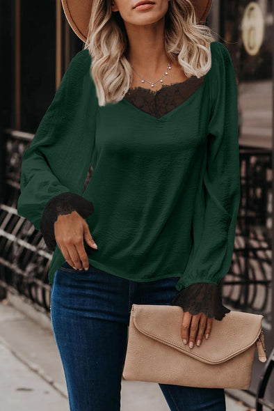 Green Satin Lace Blouse - Party Girl Fashion Exclusives