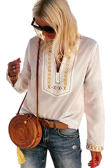 White Boho Embroidered V Neck Long Sleeve Casual Top - Party Girl Fashion Exclusives