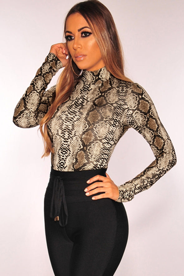 Snake Print Mock Neck Long Sleeves Bodysuit - Party Girl Fashion Exclusives