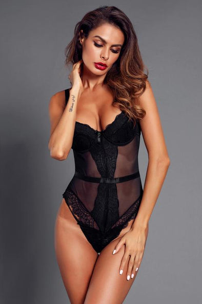 Black Sheer Lace Spaghetti Strap Bodysuit - Party Girl Fashion Exclusives