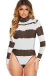 Color Block Tie Dye High Neck Bodysuit - Party Girl Fashion Exclusives