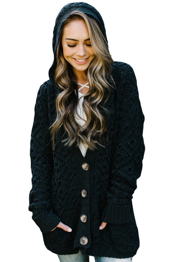 Black Knit Hooded Cardigan - Party Girl Fashion Exclusives