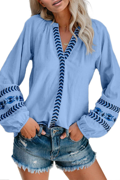 Sky Blue Istanbul Cotton Embroidered Peasant Blouse - Party Girl Fashion Exclusives
