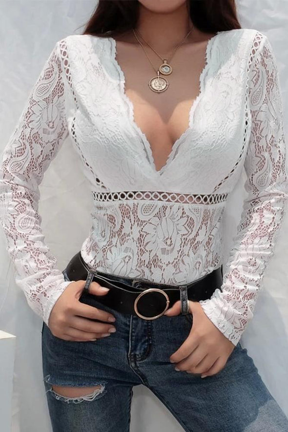 White Deep V-Neck See Through Skinny Lace Bodysuit - Party Girl Fashion Exclusives