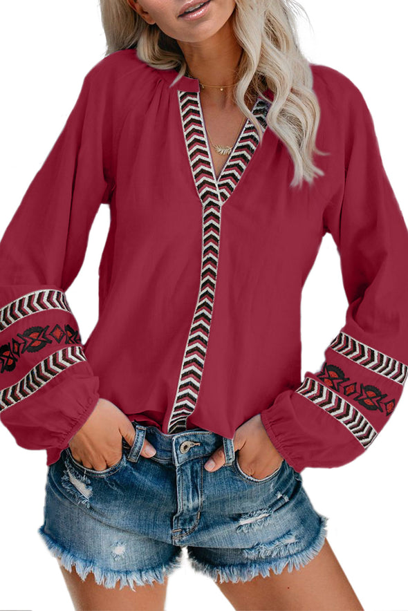 Red Istanbul Cotton Embroidered Peasant Blouse - Party Girl Fashion Exclusives