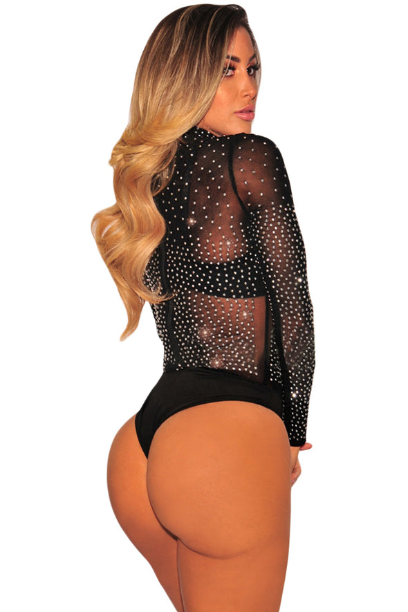 Black Mesh Silver Studded Mock Neck Bodysuit - Party Girl Fashion Exclusives