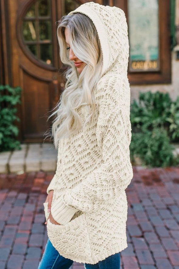 Beige Knit Hooded Cardigan - Party Girl Fashion Exclusives