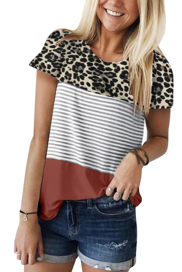 Rusty Block Striped and Leopard Short Sleeve Tee - Party Girl Fashion Exclusives