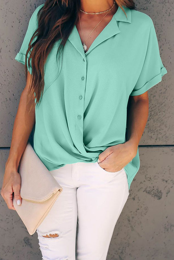 Green Road To Success Button Down Drape Blouse - Party Girl Fashion Exclusives