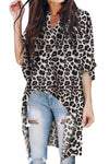 Gray V-Collar Irregular Leopard Print Blouse - Party Girl Fashion Exclusives