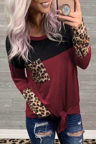 Red Leopard Printed  Blouse - Party Girl Fashion Exclusives