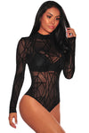 Black Sheer Mesh Geometric Velvet Bodysuit - Party Girl Fashion Exclusives