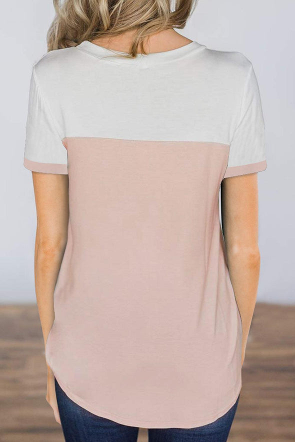 Pink Color Block Pocketed T Shirt - Party Girl Fashion Exclusives