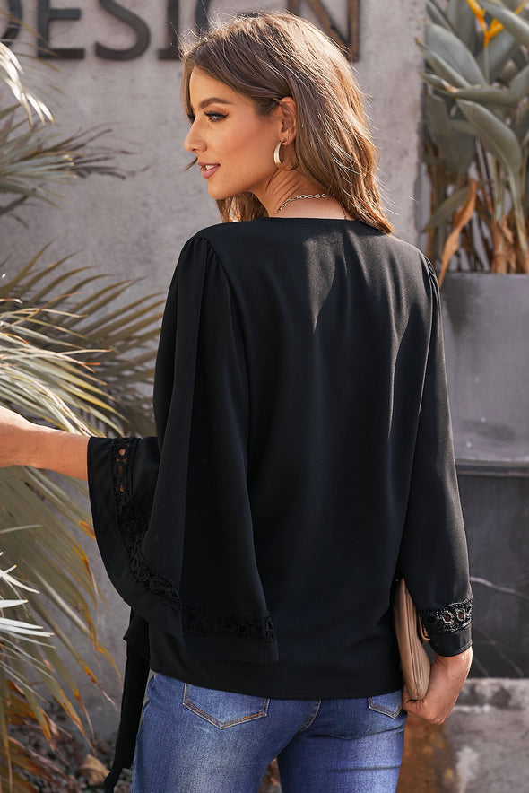 Black Crochet Trim Wrap Blouse - Party Girl Fashion Exclusives