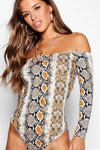 Off Shoulder Snake Print Bodysuit - Party Girl Fashion Exclusives