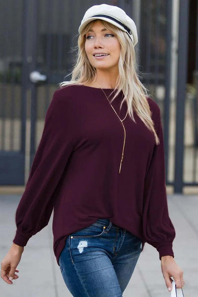 Purple Blouson Boatneck Top - Party Girl Fashion Exclusives