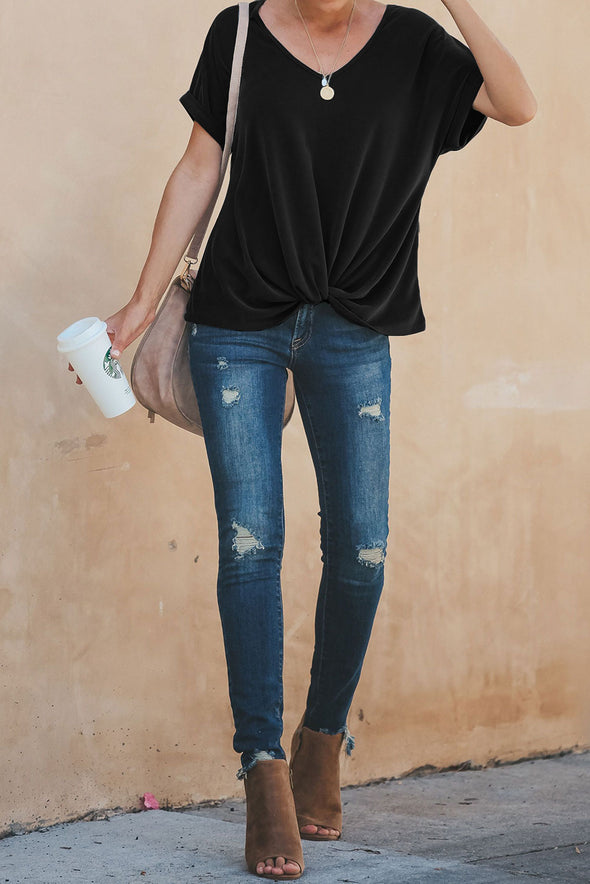 Black Plain Short Sleeve Tee - Party Girl Fashion Exclusives