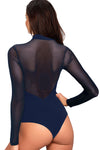 Entrancing Blue Mesh Long Sleeve Bodysuit - Party Girl Fashion Exclusives