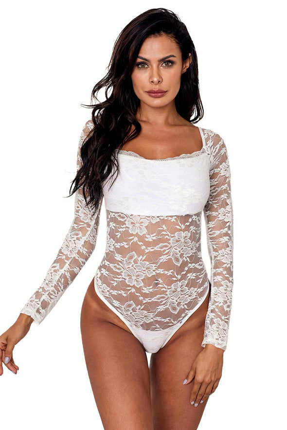 White Long Sleeve Lace Bodysuit - Party Girl Fashion Exclusives