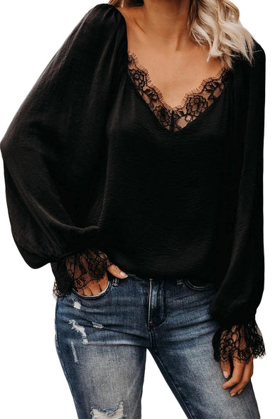 Black Satin Lace Blouse - Party Girl Fashion Exclusives