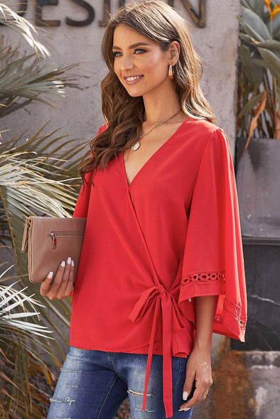 Red Crochet Trim Wrap Blouse - Party Girl Fashion Exclusives