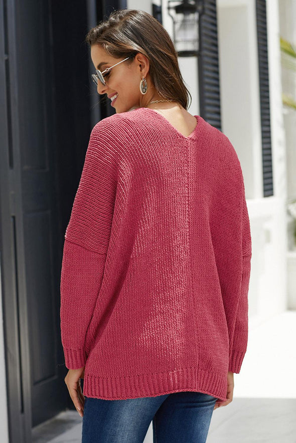Red Oversize Button Front Cardigan - Party Girl Fashion Exclusives