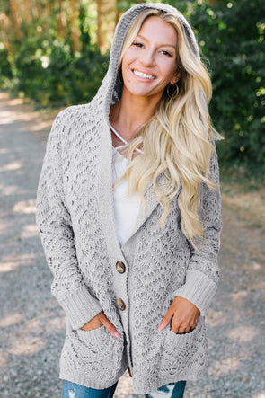 Gray Knit Hooded Cardigan - Party Girl Fashion Exclusives