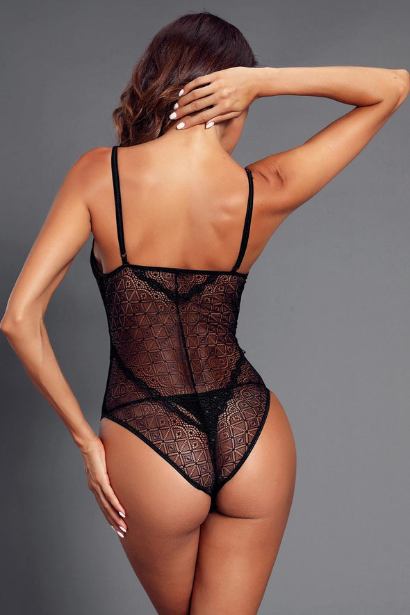 Black Designful Underwire Lace Mesh Bodysuit - Party Girl Fashion Exclusives