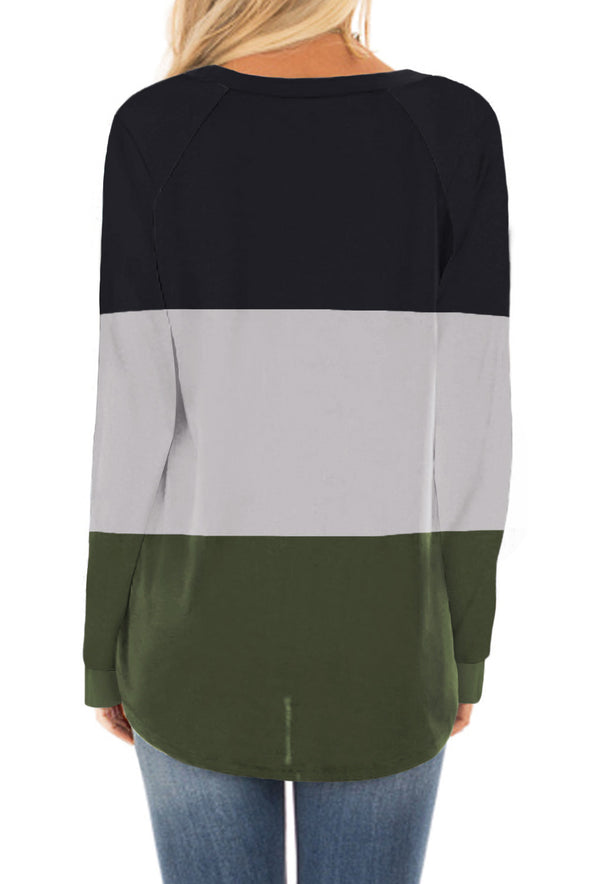 Green Long Sleeve Colorblock Top - Party Girl Fashion Exclusives