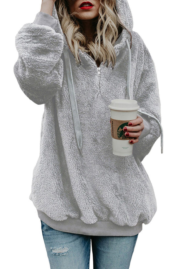 | DARK GRAY WARM FURRY PULLOVER HOODIE | - Party Girl Fashion Exclusives
