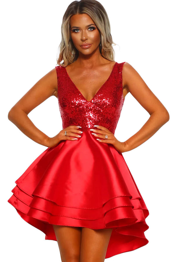 Heart Broken Red Gold Sequin Multi Layer Skater Dress - Party Girl Fashion Exclusives