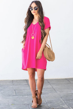 Rose V Neck Cuffed T-shirt Dress - Party Girl Fashion Exclusives